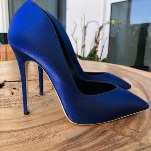 Shoes - Giuseppe Zanotti Iredescent Blue Satin pumps 37